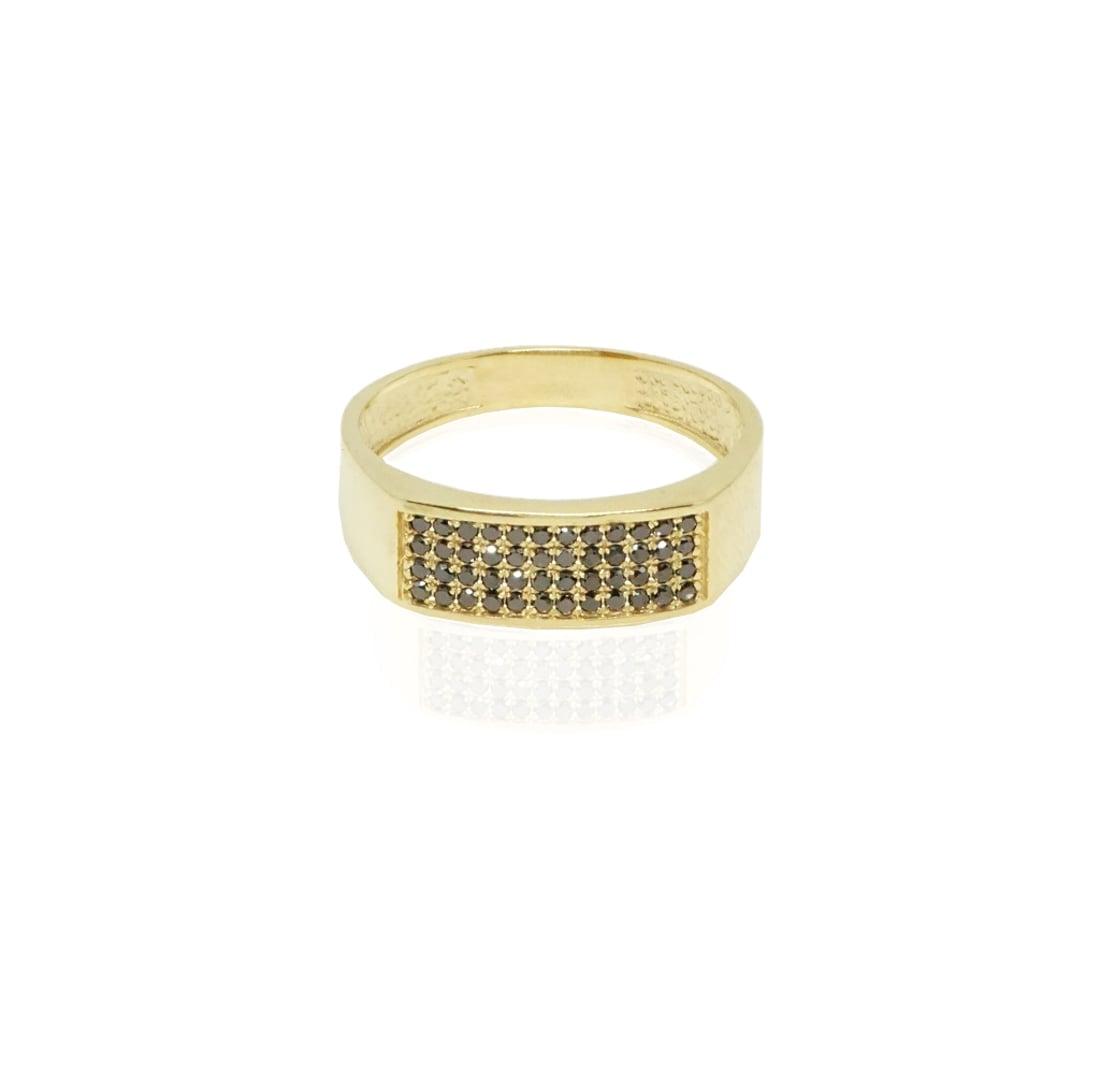 טבעת יהלומים שחורים לגבר 4 שורות משובצות יהלומים בזהב 14 קאראט