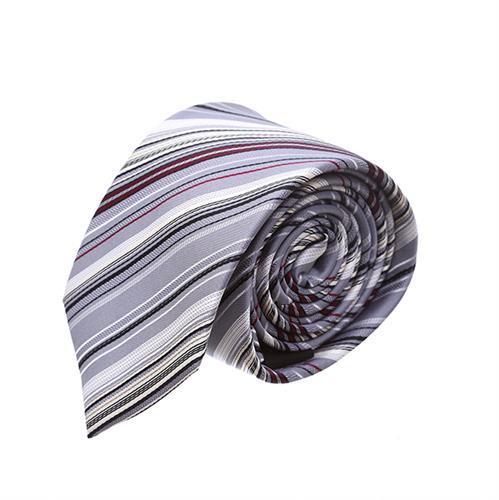 עניבה פסים אפור צבעוני