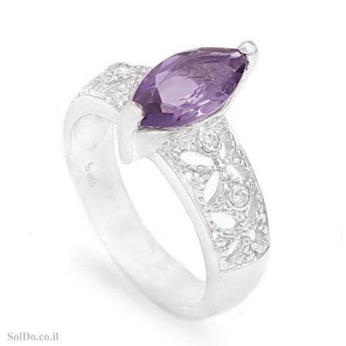 טבעת מכסף משובצת אבן אמטיסט ואבני זרקון RG6315 | תכשיטי כסף 925 | טבעות כסף