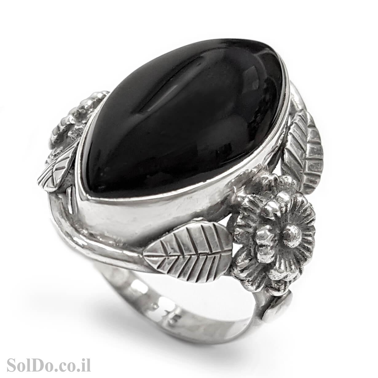 טבעת מכסף מעצבת משובצת אבן אוניקס שחורה  RG6047 | תכשיטי כסף 925