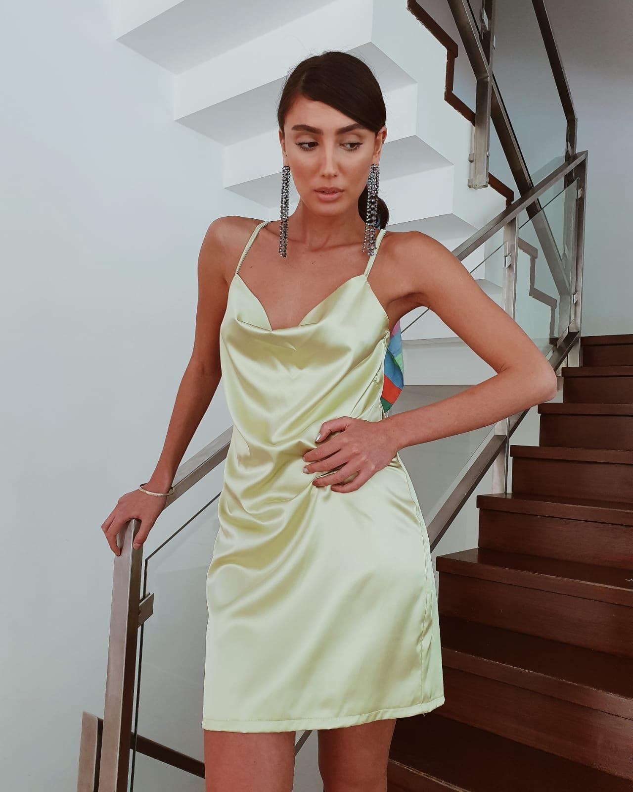 שמלת מיני דונה ליידי - ירוק תפוח