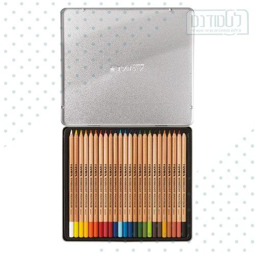 """עפרונות צבעוניים אקוורל /פוליקולור  24 י""""ח קופסה פח LYRA"""