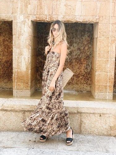 שמלת מקסי סטרפלס פרינט