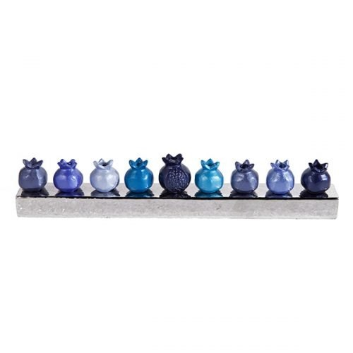 חנוכיה - רימונים - כחול