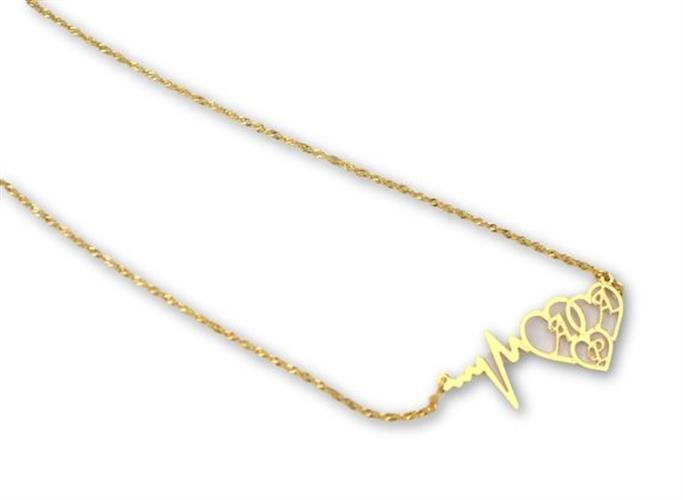 שרשרת דופק ושלושה לבבות עם חריטה - כסף 925 / גולדפילד