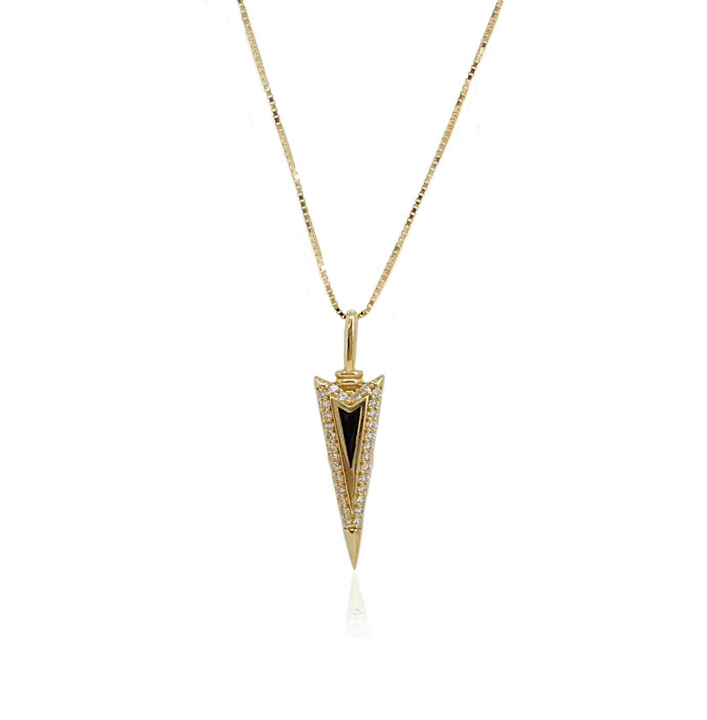 שרשרת זהב לגבר תליון משובץ זרקונים ואמייל שחור| תליון כידון זרקונים