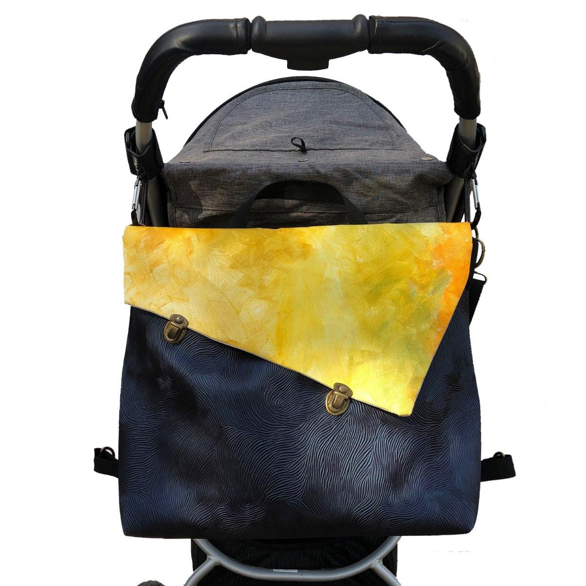 תיק עגלה, לאם ולילד, תיק החתלה כחול חלק וצהוב