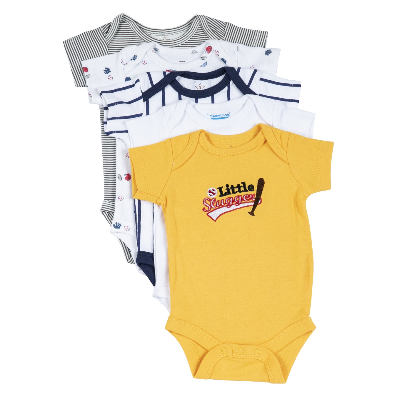 סט חמישיית בגדי גוף מעוצבים Little Slugger