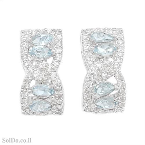 עגילים מכסף משובצים אבני טופז כחולות וזרקונים A8802   תכשיטי כסף 925   עגילי כסף