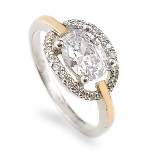 טבעת כסף מצופה זהב 9K משובצת אבן זרקון מרכזית ואבני זרקון קטנות RG5943 | תכשיטי כסף | טבעות כסף