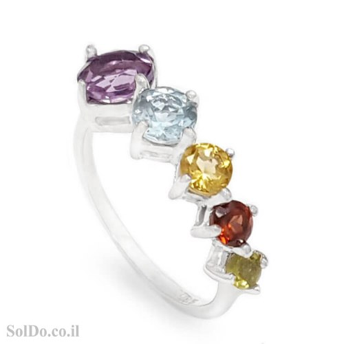 טבעת מכסף משובצת אבני חן RG6289 | תכשיטי כסף 925 | טבעות כסף