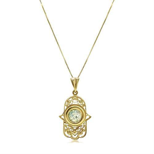 שרשרת זהב ותליון חמסה עם זכוכית רומית