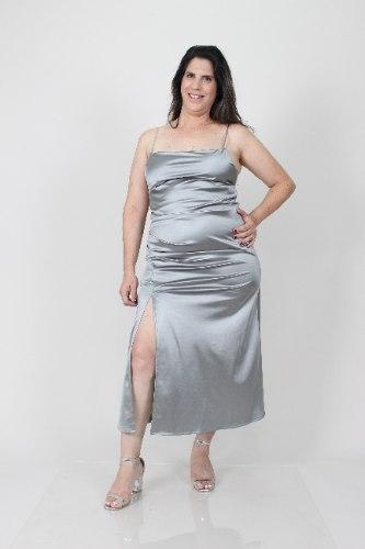 שמלת לייני כסופה סאטן