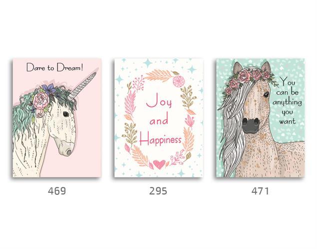 סט של 3 תמונות לחדר בנות, ילדות ונערות דגם 012