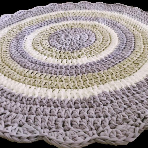 שטיח לעיצוב חדר הילדים בגווני סגול לילך, אופוויט ואפור בהיר דגם ליאת