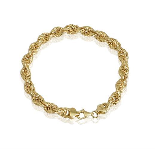 צמיד חבל זהב גדול 14 קראט לאישה