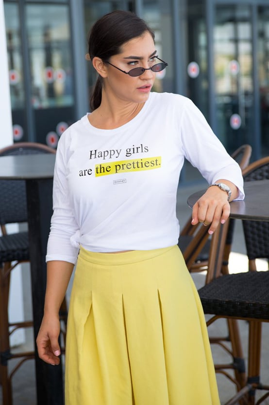 HAPPY GIRLS ARE THE PRETTIEST שרוול 3/4