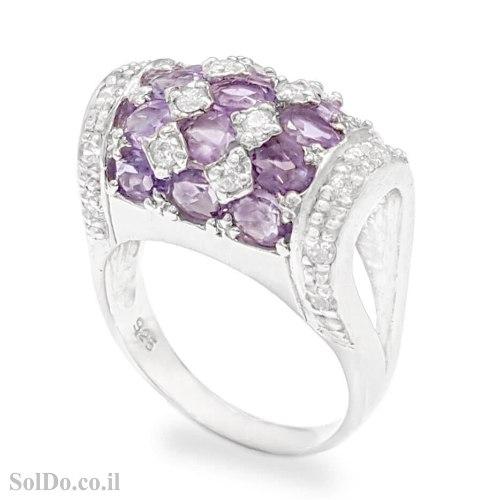 טבעת מכסף משובצת אבני אמטיסט ואבני זרקון  RG6251 | תכשיטי כסף 925 | טבעות כסף
