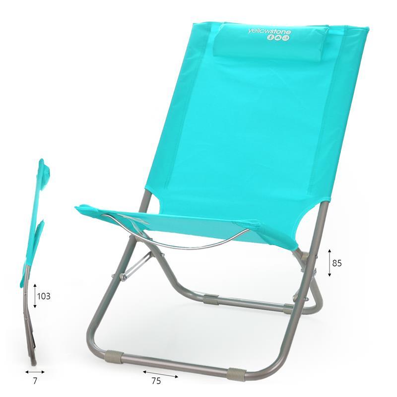 כסא חוף עם כרית תכלת