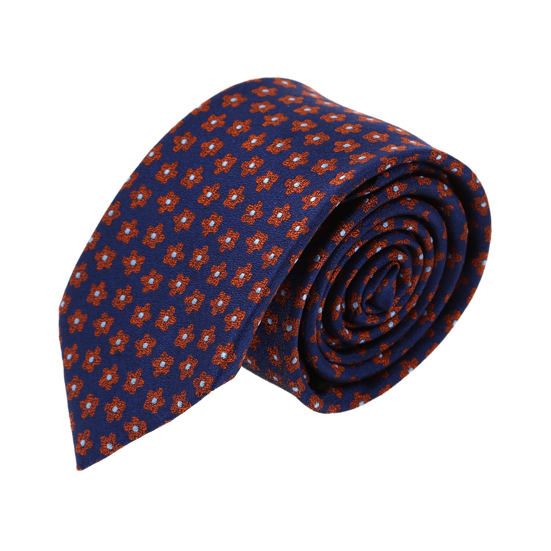 עניבה פרחים קטנים כתום כחול