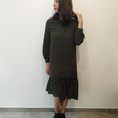 שמלת בלוסום זית מודפס