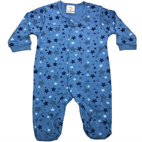 אוברול כותנה כוכבים צבעוניים כחול-כחול-תכלת