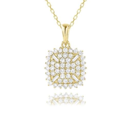 שרשרת ותליון זהב 14 קראט 0.46 קראט יהלומים 816743 - מחיר מבצע!