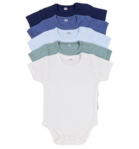 מארז 5 בגדי גוף 9601 נייבי - כחול מלאנג' - כחול בייבי - ירוק מלאנג' - שמנת