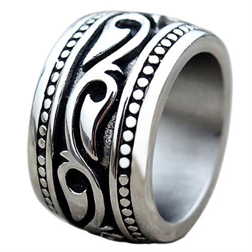 טבעת פלדת אל-חלד רחבה אופנענים לגברים / נשים