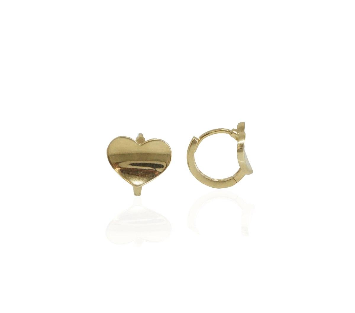 עגילי חישוק לב - קטנים - 1.1 סמ - 11.1 ממ רוחב - מזהב אמיתי 14 קאראט