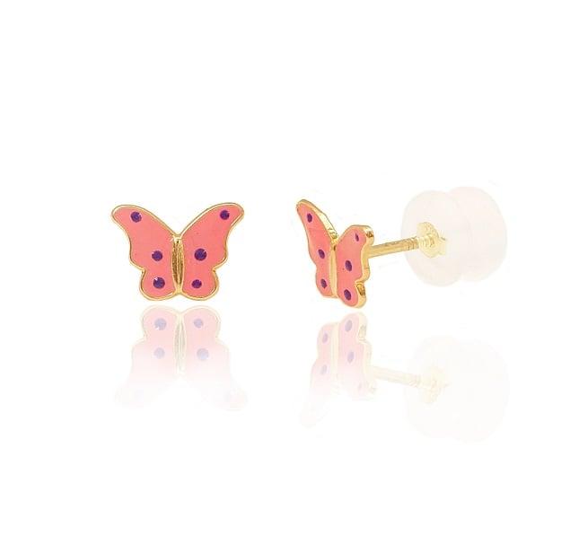 עגילי ילדות פרפר ורודים עגילים עם נקודות סגולות