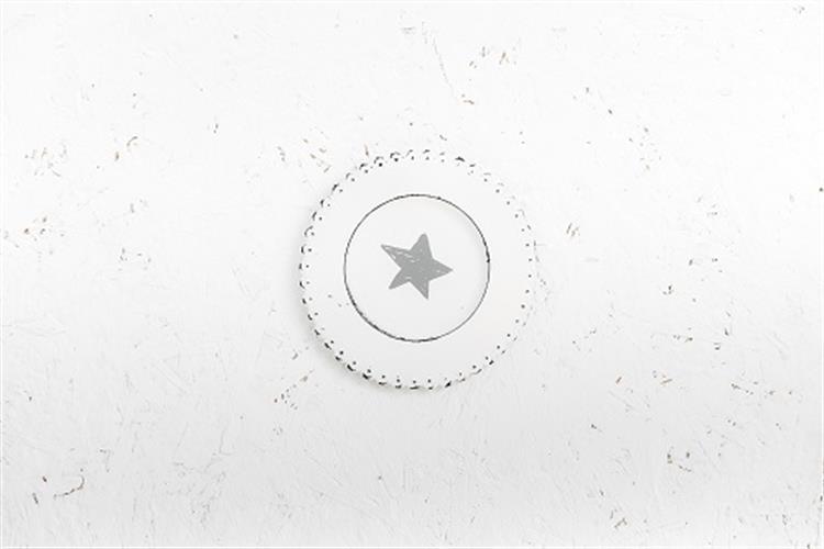 צלחת מתכת עגולה - כוכב (לבן)