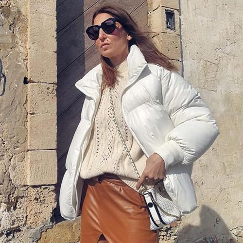 מעיל פוך פריזאי - לבן