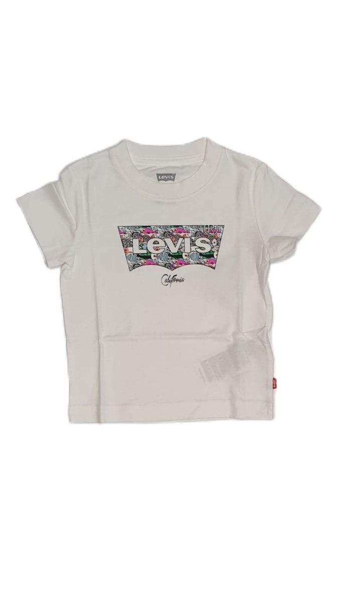 חולצה לבנה לוגו צבעוני זוהר בחושך (2-14) LEVIS