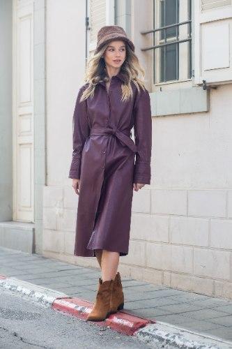 מעיל שמלה דמוי עור חציל