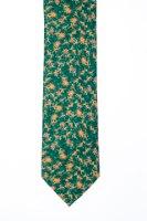 עניבה דגם פרחים גדולים ירוק צהוב