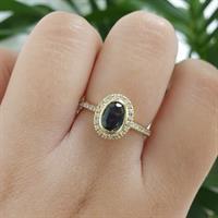"""טבעת זהב """"שני"""" יפהפייה משובצת יהלומים ואבן חן טורמלין"""