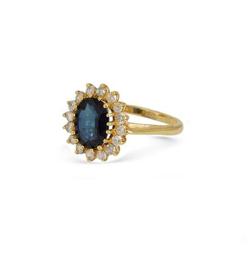 טבעת דיאנה כחולה זהב 14 קראט עם זרקונים