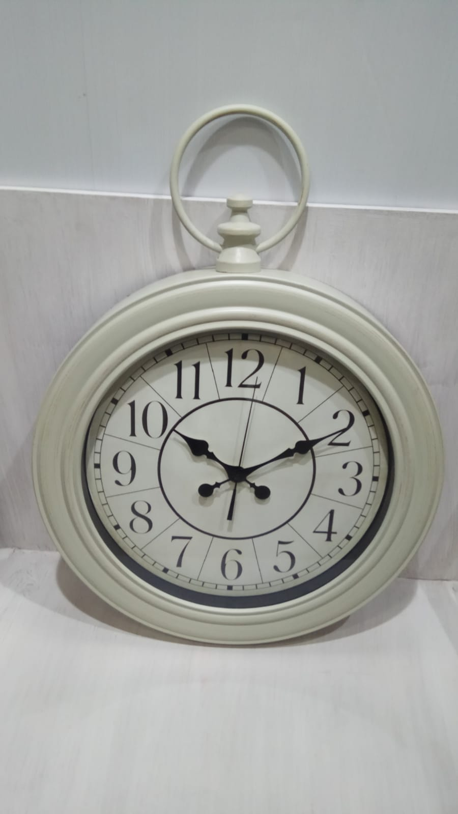 שעון קיר מעוצב צבע שמנת גדול 2310-2