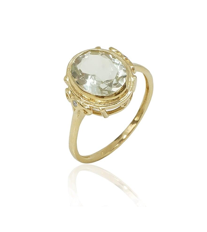 טבעת זהב יהלומים ואבן אמטיסט ירוקה