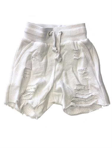 מכנס פרנץ טרי קרעים לבן
