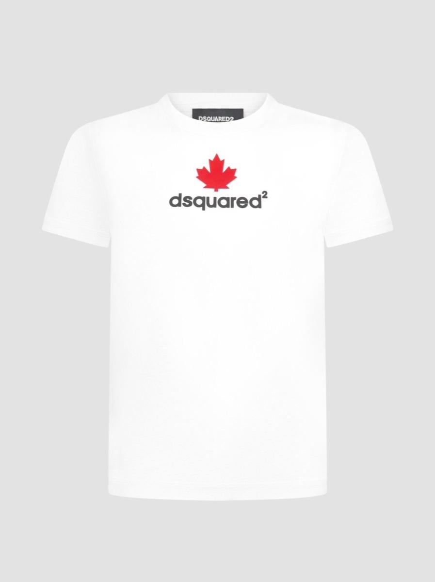 DSQ2 טישרט לבנה לוגו אדום מידות 4-16