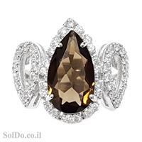 טבעת מכסף משובצת סמוקי קוורץ  RG6010 | תכשיטי כסף 925 | טבעות כסף