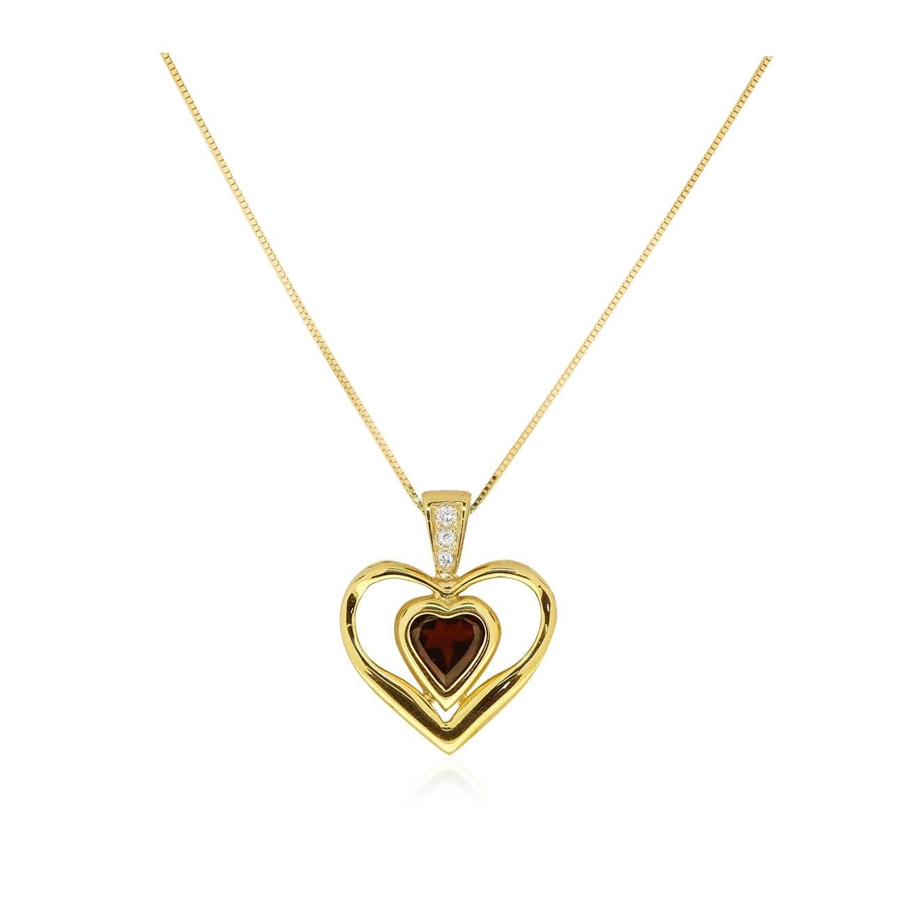 שרשרת בצורת לב בשילוב גרנט ויהלומים בזהב 14 קרט