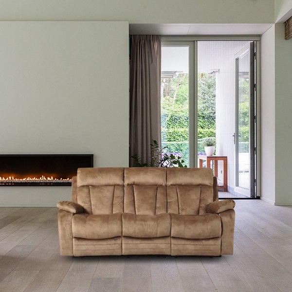 ספה 3 מושבים בד חום R1013A-31