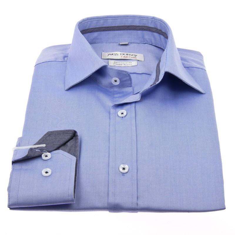 חולצה תכלת עם דוגמא בצווארון- club coton