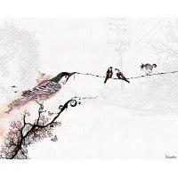 ציור מינימליסטי של ציפורים על חוט