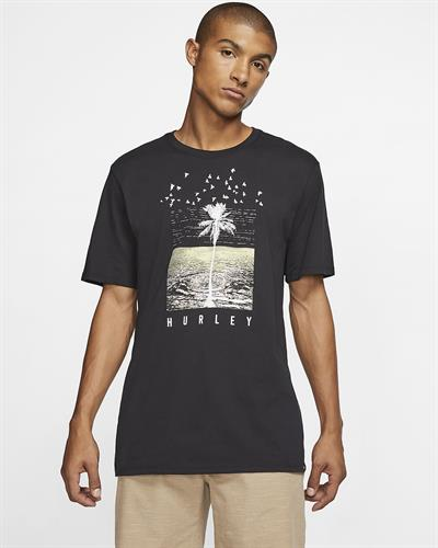 HURLEY Dri-Fit  PALMWATER  T-SHIRT-BLACK