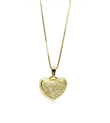 שרשרת זהב בסגנון  לב משובץ יהלומים