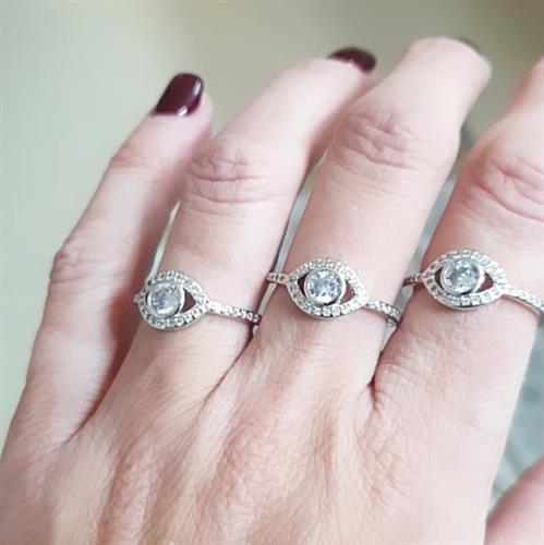 טבעת עין קלאסית מכסף